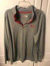 Under Armour Run Large Mens Shirt Grey Long Sleeve 1/4 Zip Loose Fit