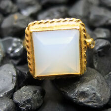 Handmade Hammered Designer Square Opalite Ring  22K Gold Over Sterling Silver
