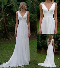 Cheap Simple White V neck Wedding dresses Beach Chiffon Bridal Gowns Custom