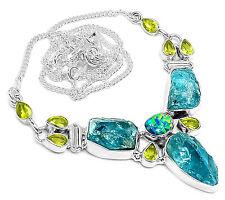22g Neon Blue Apatite 925 Sterling Silver Necklace Jewelry SN16411