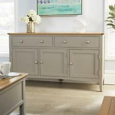 Modern Grey Solid Wood 2 Drawer 3 Door Sideboard Cupboard Living Furniture