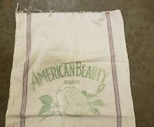 American Beauty Louisville Wholesale Grocer Canvas Flour Sack Bag Kentucky Rose