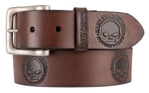 Harley-Davidson Men's Embossed Willie's World Leather Belt, Brown HDMBT11333-BRN