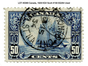 "0089: Canada, 1928 KGV Scott #158 SG284 Used - ""Bluenose"""