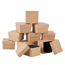 12pc Cardboard Jewelry Boxes Ring Square Tan 9cm Cube Display Case Gift Boxes