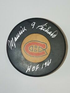Autographed Vintage NHL puck  MAURICE RICHARD Canadiens