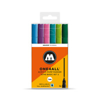 MOLOTOW ONE 4 ALL 127HS - 2MM NIB PAINT PEN SET, BASIC SET 2 - 6 MARKERS