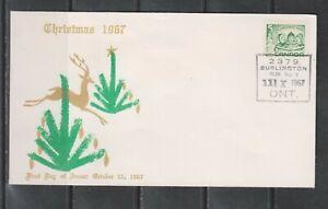 Can 477 - 1967 5c Christmas Children Carolling - FDC