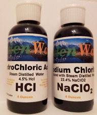 Water Purification Solution Chlorite NaClO2 4oz HCl Acid 4oz Disinfectant