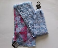 Ladies Scarf, Light Blue Pink Insects, M&Co.