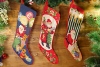 Hand Crafted Pretty Busy White Beard Santa Clause Needlepoint Christmas Stocking