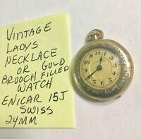Vintage 1910s Ladys Necklace Watch Gold Filled Enicar 15J Swiss 24mm Running