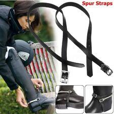 Pair Mens Ladies Western Harness Leather Spur Straps Cowboy Horse Buckles Black