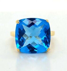 Tiffany & Co 18K YELLOW GOLD  RING 10.94ct. Natural blue topaz cushion shape