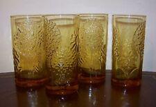 Flora Oiva Toikka Amber Tumblers Set of 4 Nuutajärvi Notsjo Finland Rare Vintage