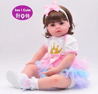 "Handmade Reborn Toddler Baby Doll 24"" Vinyl Princess Girl Newborn Cloth Body Hot"