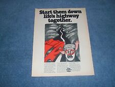 """1970 STP Oil Treatment Vintage Ad """"Start Them Down Life's Highway Together"""""""