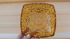 """VINTAGE Amber Candy Nut Dish Pressed Glass Genuine 6 1/4 """" Square Ribbed Top"""