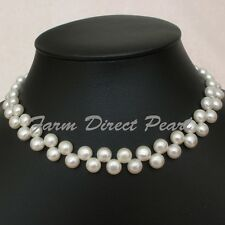 "18"" Inch Genuine Multi Row Strand Cultured Freshwater White Pearl Necklace"