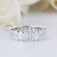 8.00Ct Emerald Cut Diamond 14k White Gold Full Eternity Anniversary Wedding Band