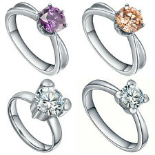 Women's Stainless Steel Cubic Zirconia Solitaire Wedding Engagement Ring