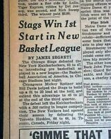 2nd Ever NBA BASKETBALL GAME Very 1st Played in Chicago HISTORIC 1946 Newspaper