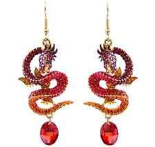 BUTLER E WILSON rosso cristallo e smalto con le ali DRAGONE Nuovi orecchini