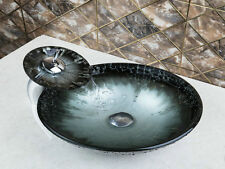 New Bathroom Tempered Glass Hand Painting Basin Vessel Bowl With Matching Tap