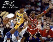 Magic Johnson LA Lakers Autographed 16x20 Photo vs Michael Jordan ASI Proof