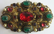 CZECH VINTAGE BEAUTY RED PURPLE & GREEN GLASS CABS RHINESTONE JEWEL SASH PIN