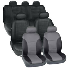 Van SUV Seat Covers 3 Row 2 Tone Color PU Leather Covers Black & Gray