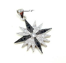 Sterling Silver Cross Pendant Bethlehem Star Cubic Zirconia Crystals Certificate