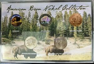 2005 American Bison Nickel Collection Colorized / 24k / Holographic / D & P Mint