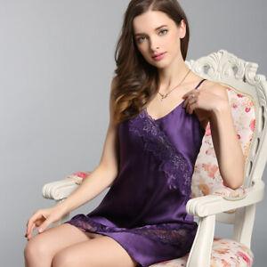 Damen 100% Seide kurzes Negligé Nachtwäsche Nachtkleid Reizwäsche Nachthemd Y01