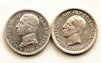 SPAIN-Alfonso XIII. 50 centimos 1910*1-0 y 1926. Madrid. Plata 5 g.