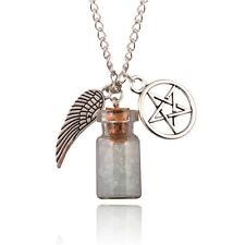 SUPERNATURAL Necklace Rock Salt and Burn Protection Bottle angel wing pentagram