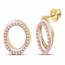10kt Tri-Tone Gold Womens Round Diamond Oval Stud Earrings 1/5 Cttw