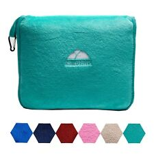 BlueHills Premium Soft Teal Green Travel Blanket Pillow Airplane Blanket in Case