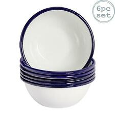 """White Enamel Cereal Bowls 6"""" Retro Camping Outdoor Tableware Bowl x6"""