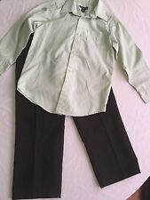 Boys-Size 6/7-George-shirt-green-Lot of 2-black dress suit pants