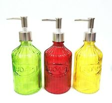 NEW GLASS GREEN,RED,YELLOW,NICKEL SILVER PUMP,SOAP DISPENSER