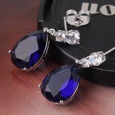 Unique design sapphire 18k white gold filled wedding pear dangle earring