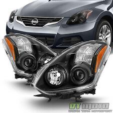 Black Headlamps For 2010-2013 Altima 2-Door Coupe  Halogen Projector Headlights