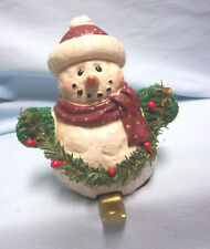 STOCKING HOLDER Vintage Stocking Hanger Heavy Christmas Snowman Holding Garland