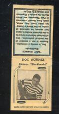 1936-39 Diamond Matchbook Hockey Type 2   Doc Romnes   Blackhawks   LOOK !!