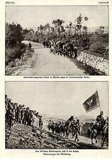 1915 *  Montenegro im Weltkrieg * Abteilung mit Fahne zieht in den Kampf * WW1