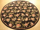 6 x 6 New Floral D?cor Round Rug Wool Flat-Woven Needlepoint Black Rug