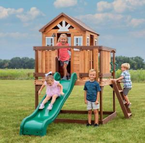 Wooden Garden Playhouse Outdoor Kids Slide Wendy Tree House Children Playcentre