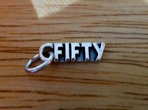 Sterling Silver 15x5mm Number Fifty or 50th 50 Birthday Charm