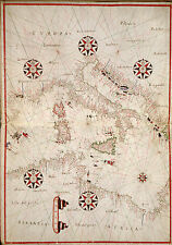 Mediterranean Italy Malta Sicily North Africa Repro Vintage Old Large Map Plan